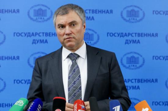 Володин: государственной думе важно участие регионов в разговоре с другими государствами