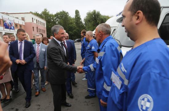 Вячеслав Володин передал станции скорой помощи в Пензе ключи от 25 новых машин
