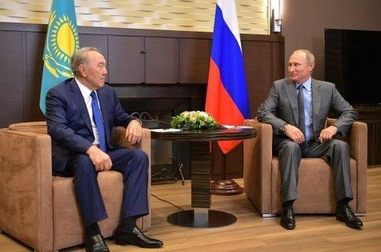 Назарбаев поблагодарил В. Путина заобщение нарусском с предпринимателями изФРГ