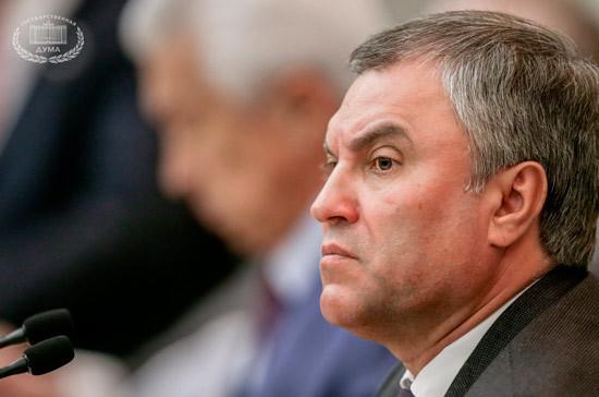 Володин поручил изучить вопрос о реакции на снятие флагов РФ в США