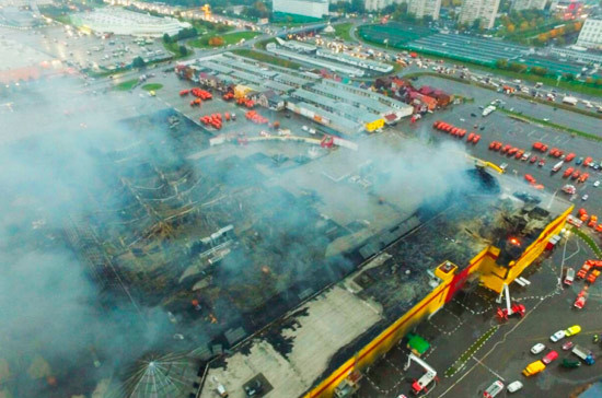 СМИ: основной версией пожара в ТЦ «Синдика» остаётся поджог
