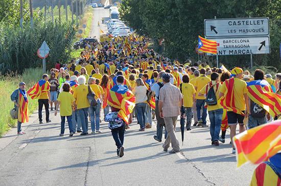 Жители Барселоны организовали акцию в поддержку независимости Каталонии