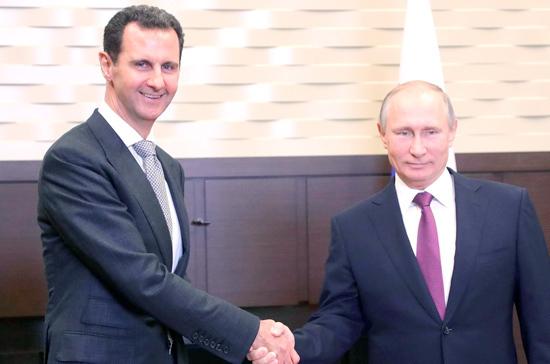 Путин пообещал Асаду оказывать дальнейшую поддержку Сирии взащите суверенитета
