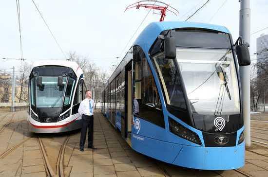 Два вагона «Витязь-М» поступили вОктябрьское трамвайное депо столицы