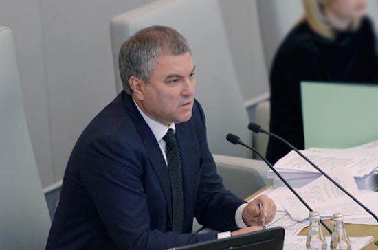 Вячеслав Володин выразил соболезнования родственникам погибших в авиакатастрофе в Подмосковье