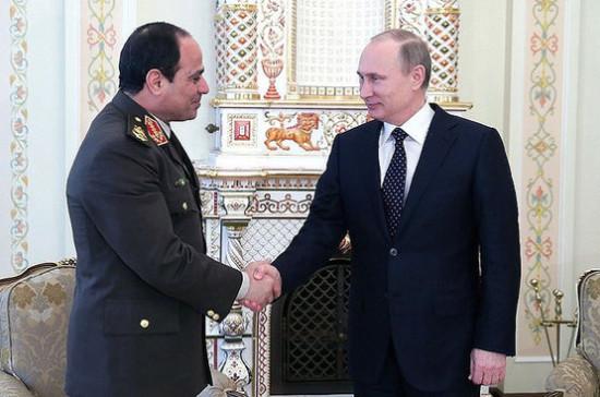 Президенты РФ иЕгипта обсудили Сирию иобстановку наБлижнем Востоке