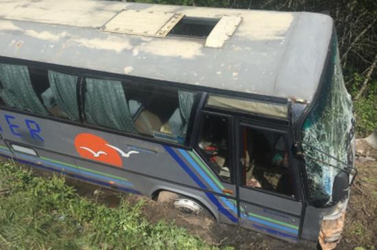 В Псковской области экскурсионный автобус с детьми съехал в кювет