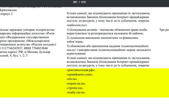 МИА «Россия сегодня» и РИА «Новости Украина» включены в санкционный список Украины