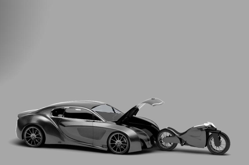 Дизайнеры спроектировали автомобиль со встроенным мотоциклом