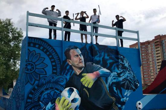 Подмосковный художник нарисовал граффити в честь выхода России в четвертьфинал ЧМ-2018