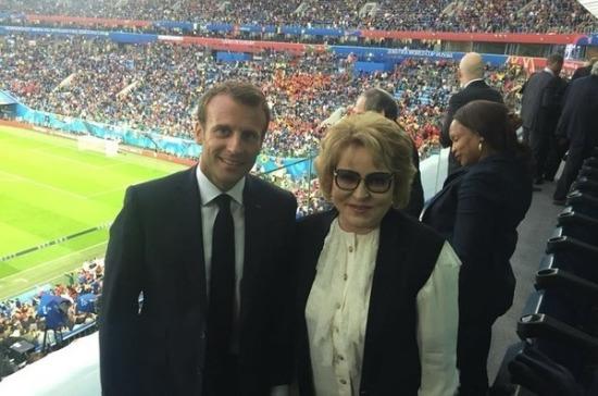 Макрон прибыл вПетербург, чтобы поддержать сборную Франции вполуфиналеЧМ