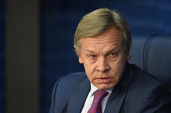 Пушков: Запад будет пытаться представить речь Путина как агрессивную