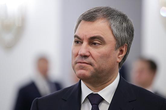 Володин обсудит с Пискаревым инициативу фракций о расследовании вмешательства извне в выборы в РФ