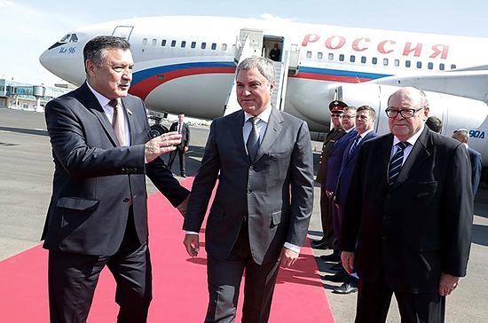 Делегация Госдумы во главе с Вячеславом Володиным прибыла в Узбекистан