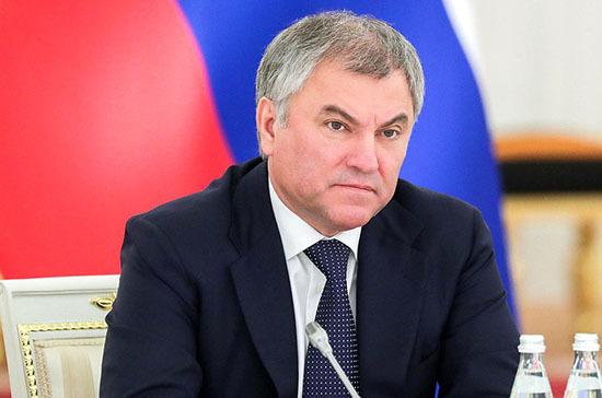 Володин назвал публикации иностранных СМИ о роспуске Госдумы вмешательством в дела России
