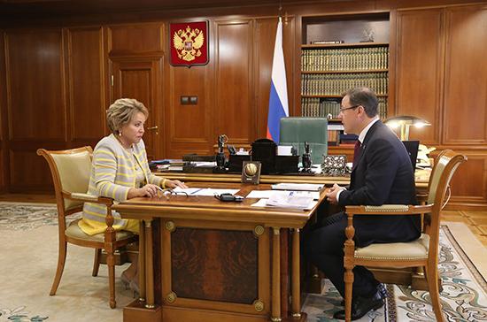 Матвиенко поинтересовалась, как выполняются поручения Совфеда в Самарской области