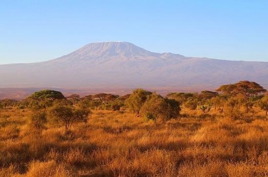Вулкан Килиманджаро окутан дымом из-за пожаров