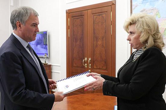Володин и Москалькова обсудили вопросы защиты прав граждан в условиях пандемии