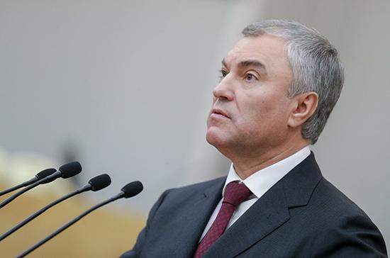 Володин призвал депутатов не планировать поездки за рубеж на Новый год