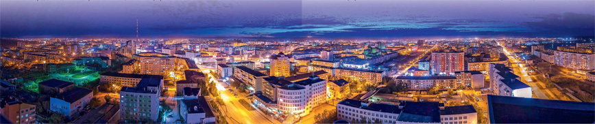 Ночной Якутск во всей красе