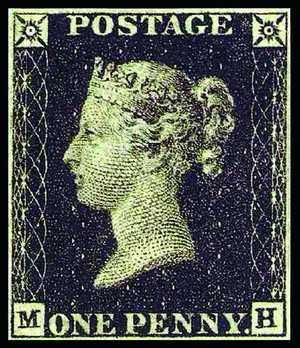 Первая британская марка известна как «Черный пенни»