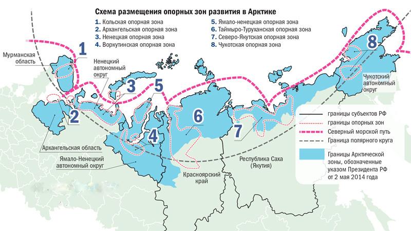 Схема размещения опорных зон развития в Арктике