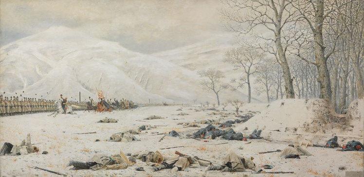 Картина из Балканской серии Верещагина. Изображает армию генерала Скобелева, празднующую победу над турецкими войсками под Шипкой в 1878 году.