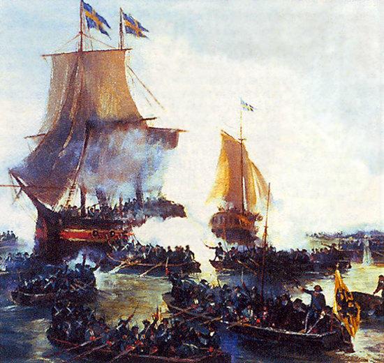 Взятие Петром I шведских кораблей «Гедан» и «Астрильд» в устье Невы