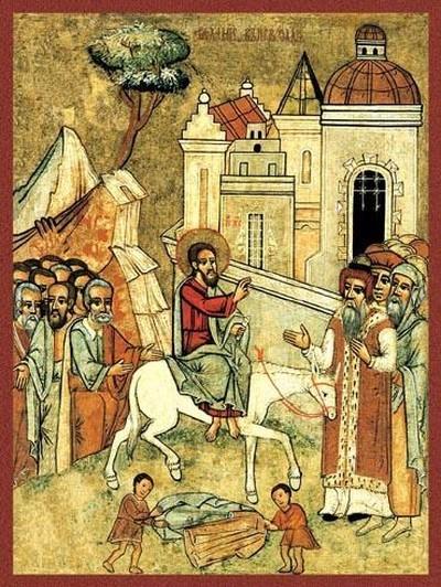 Вход Господень в Иерусалим. Икона, Галиция, начало XVII века