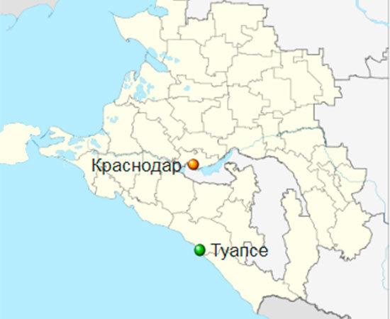 Туапсе на карте